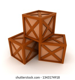 3D Rendering of three wooden crates. 3D rendering isolated on white.