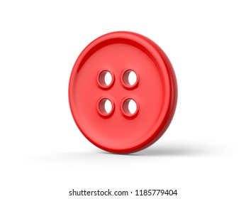 A 3d rendering of a three-quarter view of a red clothing button with four buttonholes casting a shadow onto a white background.