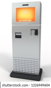 3d rendering ticket machine dispenser isolated