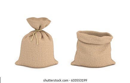 3d rendering of tied canvas sacs and open sack in front view isolated on white background. Buying in bulk. Dry goods. Cargo and delivery.