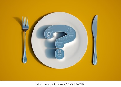 3D rendering of a tin in the shape of a question mark on a dinner set