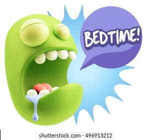 3d Rendering Tired Character Emoticon Expression saying Bedtime with Colorful Speech Bubble.
