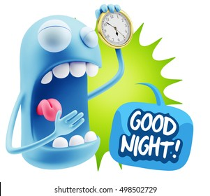 3d Rendering Tired Character Emoticon Expression saying Good Night with Colorful Speech Bubble.