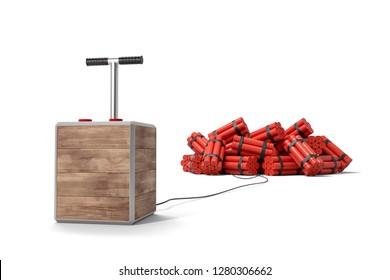 3d rendering of tnt dynamite sticks with detonator box isolated on white background. Digital art. Blasting machine. Plunger detonator.