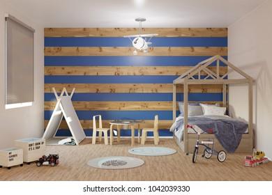 3d rendering of Toddler boy nursery interior room