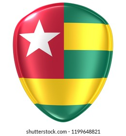 3d rendering of a Togolese Republic flag icon on white background.