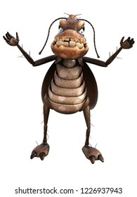 3d rendering toon cockroaches isolated