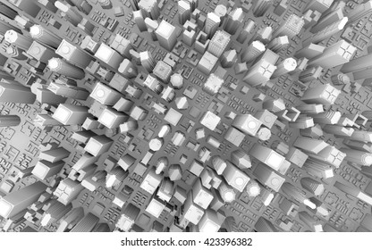 3d rendering of a top view city