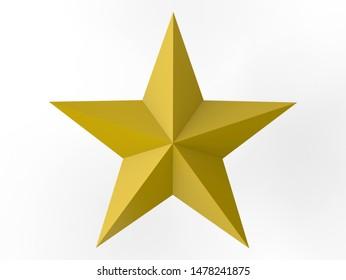 3D rendering - top view of a golden star