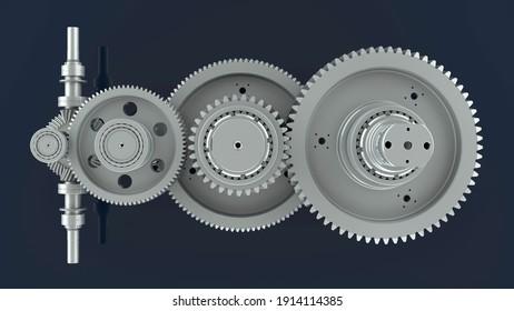 3D rendering - top view of multiple gears