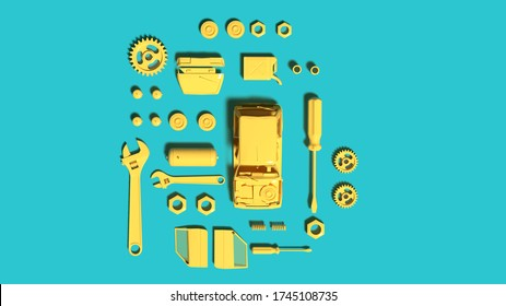 3D rendering Top view yellow color Plastic Car Model with tools part on blue background