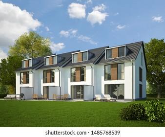 3d rendering of town houses