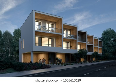 3d rendering of townhouses in the evening