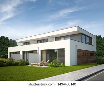 3d rendering of townhouses on the day