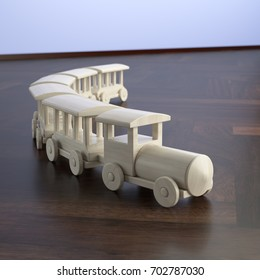 3D rendering of toy train made of wood placed on dark floor against blue wall