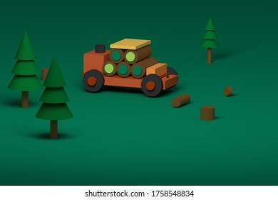 3d rendering toy truck with trees illustration