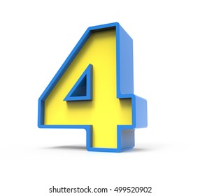3d rendering toylike plastic yellow number 4 with blue frame isolated on white background, 3d illustration, right leaning