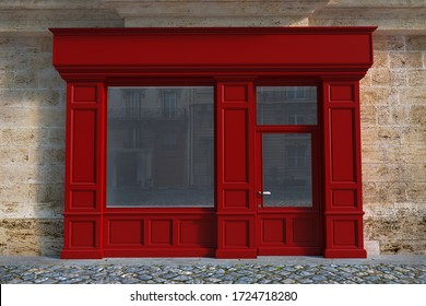 3D rendering of a traditional storefront façade with red wood.