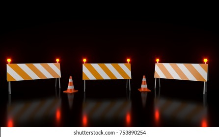 3D Rendering Of Traffic Cones And Barriers On Black Background