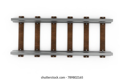 A 3D rendering of a train track disappearing into the distance on an isolated white