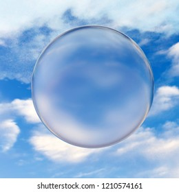 3d rendering of translucent glass bowl placed in front of cloudy sky