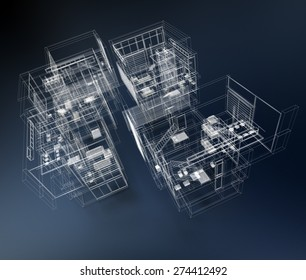 3D rendering of a transparent building against a blue background