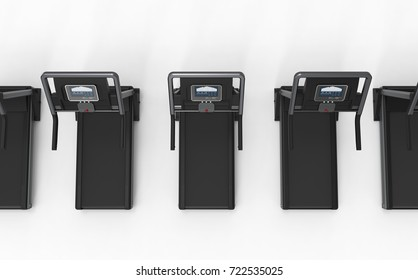 3d rendering treadmills or running machines in a row on white background