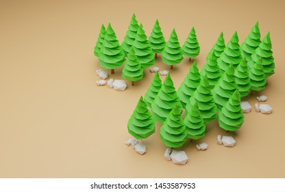 3d rendering tree low polygon - illustration picture