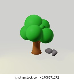 3d rendering tree with rocks next to it