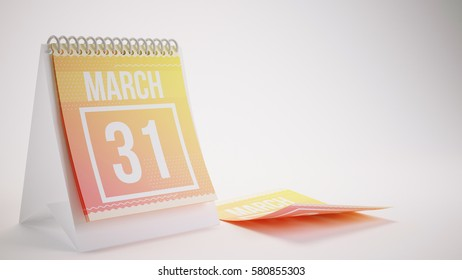 3D Rendering Trendy Colors Calendar on White Background - march 31