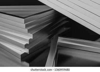 3d rendering, triangle metal framework, industrial background, computer digital background
