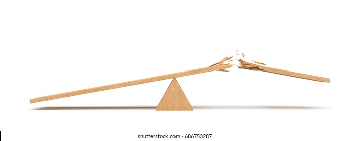3d rendering of a triangle seesaw made of light wood with a broken plank on white background.Playground equipment. Heavy weight. Work and leisure misbalance.