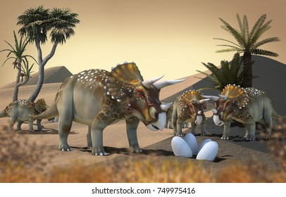 3D rendering of Triceratops in landscape with mountains