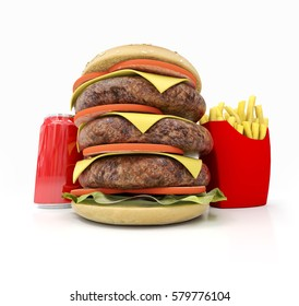 3D rendering of a triple cheeseburger with fries and soda can