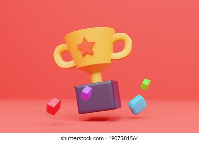 3d rendering of trophy illustration icons in muted and elegant colors, perfect for the backdrop of certain events
