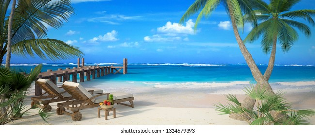 3D rendering of a tropical beach with a pair of hammocks