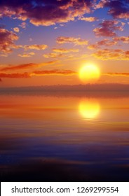 3D rendering of tropical environment sunset with calm sea and soft sky with clouds and reflections on water surface