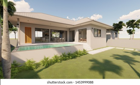 3D rendering of tropical house exterior