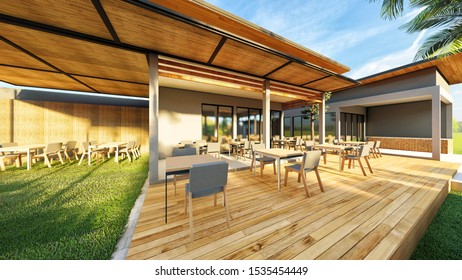 3d Rendering Tropical House Exterior Stock Illustration 1535454449