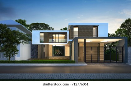 3D rendering of tropical house exterior.Night perspective of modern house.