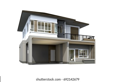 3D rendering of tropical house isolated on white background with clipping path.