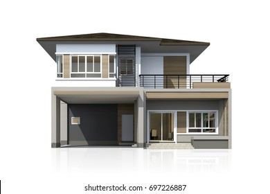 3D rendering of tropical house isolated on white with clipping path.