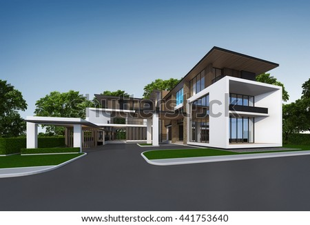 3D rendering of tropical modern house exterior. Architectural design idea with green space area. & 3 D Rendering Tropical Modern House Exterior Stock Illustration ...
