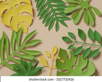 3d rendering, tropical paper palm leaves, papercraft, green jungle background, botanical paper art wallpaper