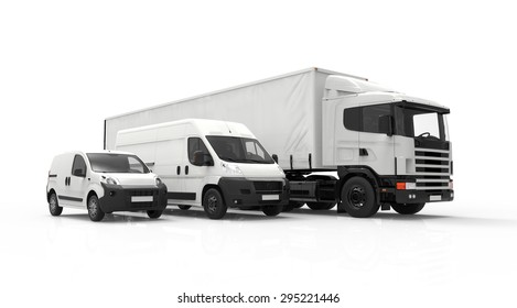 3D rendering of a truck, a van and a lorry isolated on a white background