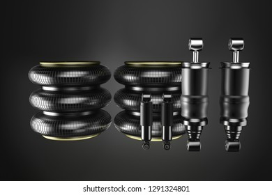 3D rendering. Trucks Cabin Shock Absorber and air spring, New auto parts, spare parts Cabinedemper. Spare parts for shop, aftermarket OEM for cargo car.