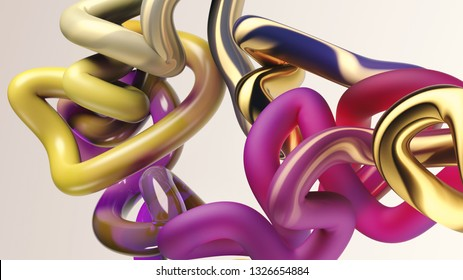 3d rendering of tube randomly bent. Colorful gradient texture. Motion graphic style. Flexible 3d cylindrical stripe on white background. Abstract geometric shape.  Computer generated