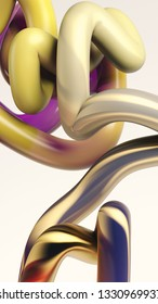 3d rendering of tube randomly bent. Colorful gradient texture. Motion graphic style. Flexible 3d cylindrical stripe on white background. Abstract geometric shape.
