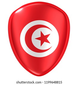 3d rendering of a Tunisia flag icon on white background.