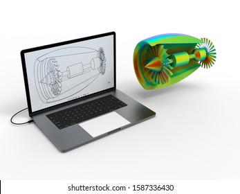 3D rendering - turbine finite element analysis